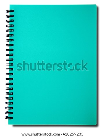 Blue notebook with shadow on right side isolated on white background