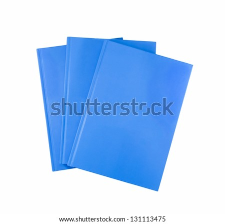 Blue notebooks isolated on white