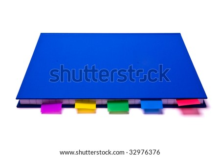 Blue notepad with colorfull bookmarks on white background - stock photo