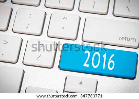 Blue number 2016 button on the keyboard - stock photo