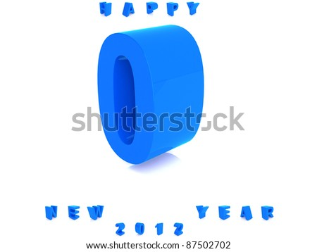 Blue number isolated