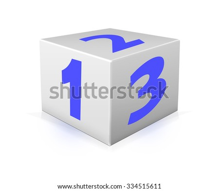 Blue numbers 123 on white box. One 123 block on white background - stock photo