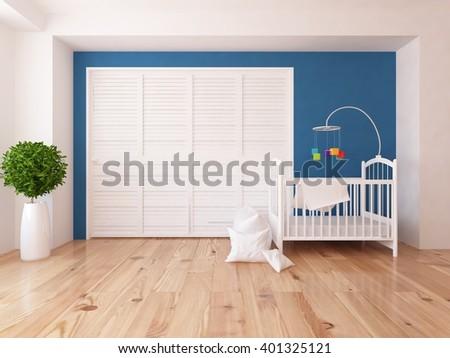 Blue nursery with wardrobe. 3d illustration - stock photo
