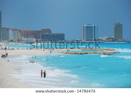 Blue ocean in cancun mexico - stock photo