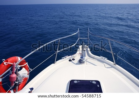 blue ocean sea view from motorboat yacht bow in Mediterranean - stock photo
