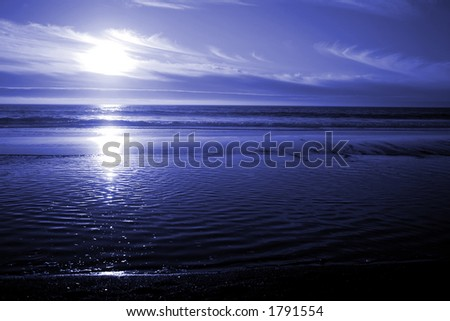 Blue Ocean Sunset - stock photo