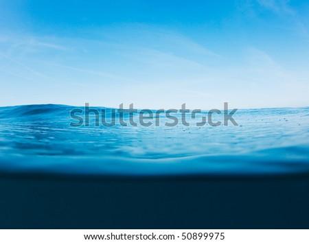 Blue Ocean Surface, Beautiful Seascape - stock photo
