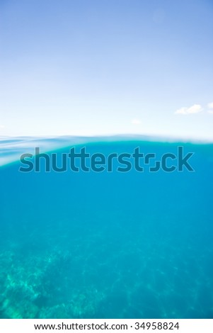 blue ocean water background calm and clear - stock photo