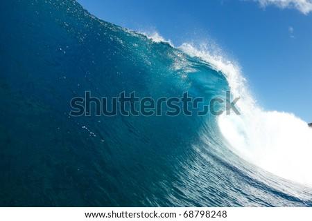 Blue Ocean Wave - stock photo