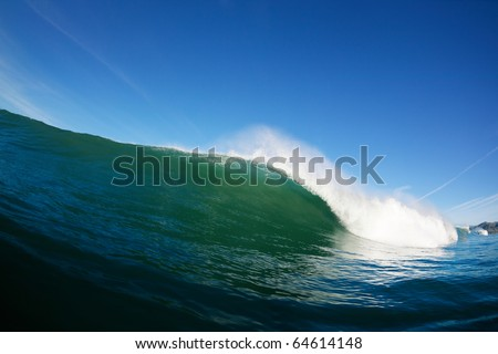 Blue Ocean Wave Breaking in Ocean, Epic Surfing - stock photo
