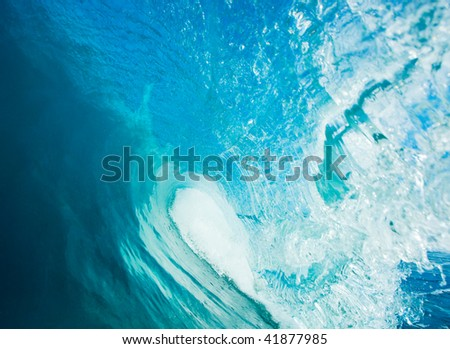 Blue Ocean Wave, View in the Tube a Surfers Perspective - stock photo