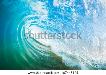 Blue Ocean Wave, View inside the Wave - stock photo