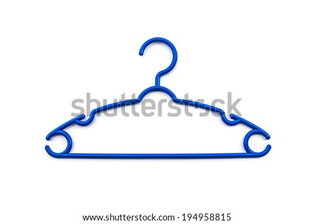 Blue of plastic hanger clothes on white background. - stock photo