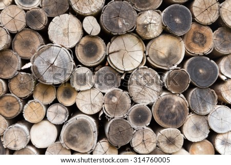 blue of stacked timber logs as background. - stock photo