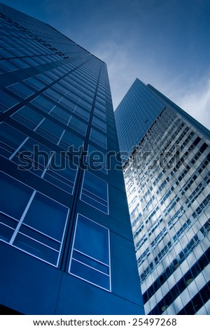Blue office buildings in Manhattan, NY. - stock photo