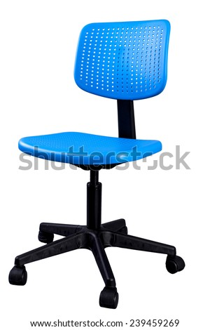 Blue office chair on a white background - stock photo