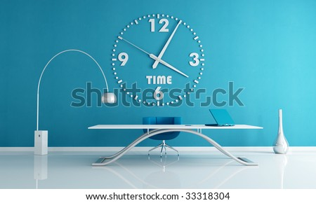 blue office space with big wall clock -rendering - stock photo