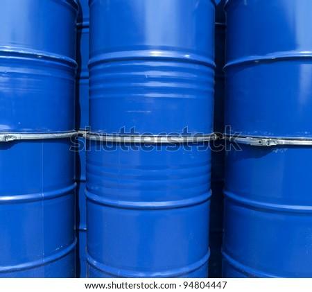 Blue oil drums full frame - stock photo