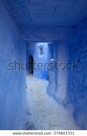 Blue old city (medina) of Chefchaouen city in Morocco, Africa - stock photo