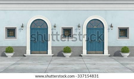 Blue old facade with two wooden doorway and little windows - 3D Rendering - stock photo