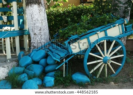 blue old horse cart