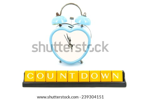 blue old retro clock on white background ,abstract background to countdown. - stock photo