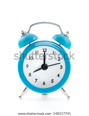 Blue old style alarm clock isolated on white background