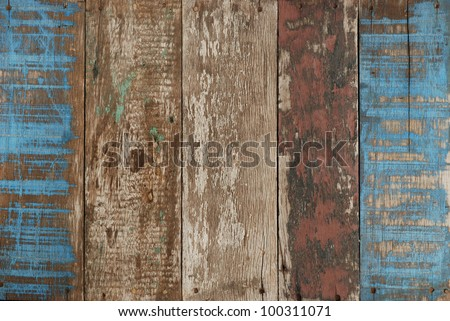 blue old wood - stock photo