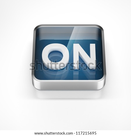 blue ON button isolated over white background - stock photo