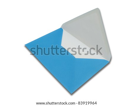 Blue open envelope on white background with clipping path - stock photo