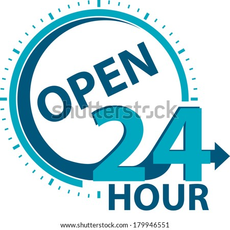 Blue Open 24 Hour Icon or Label for Work Hour, Customer Service, Support or CRM Concept Isolated on White Background  - stock photo