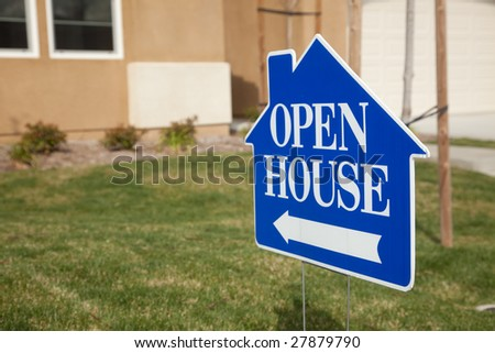 Blue Open House Real Estate Sign in Front Yard of Home. - stock photo