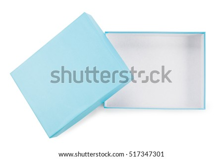 Blue opened box isolated on white. top view.