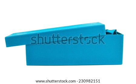 Blue opened tall gift box with the velvet cloth inside, isolated over the white background - stock photo