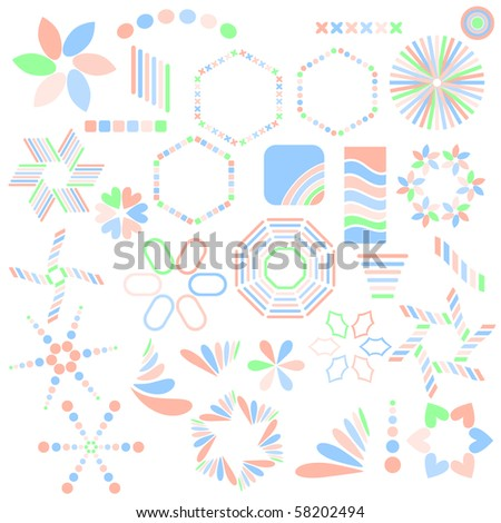 Blue, orange and green symbol collection over white background