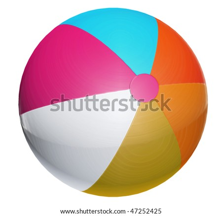 Blue, orange, purple and white ball. Isolated object