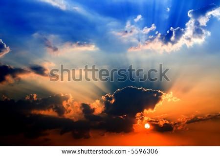 blue orange sunset - dramatic light - stock photo