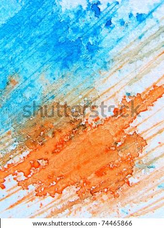 Blue & Orange Watercolor 4 - stock photo