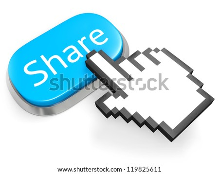 Blue oval button Share and hand cursor. Isolated on white. 3d illustration.