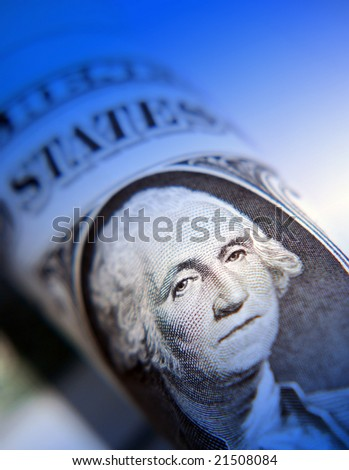 Blue overlay applied to  American dollar note