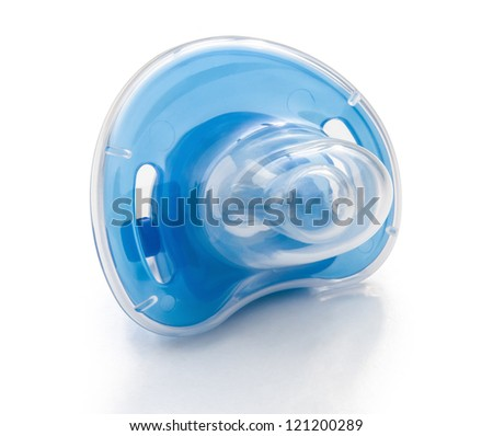 blue pacifier and cover with clipping path - stock photo