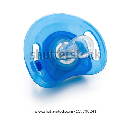blue pacifier isolated on white with clipping path - stock photo