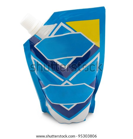 blue packaging evaporated milk isolated white background