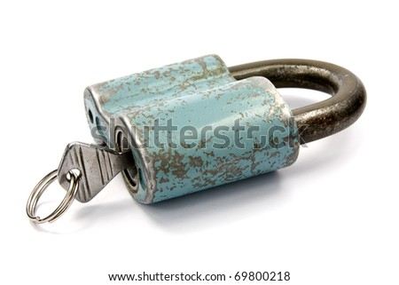 blue padlock with  key over a white background - stock photo
