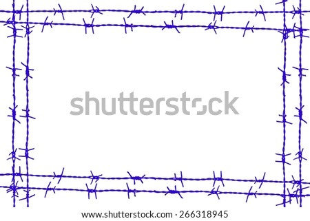 Blue Paint  barbed wire frame isolated on white - stock photo