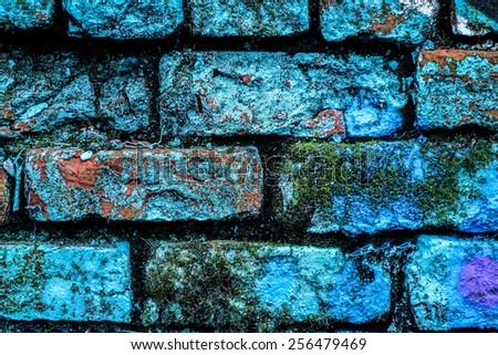 Blue paint brick wall grunge.  - stock photo