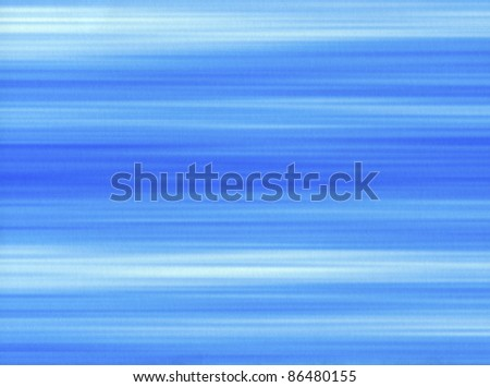 Blue paint brush strokes lines on a paper background.