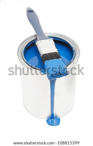 blue paint can isolated on white background - stock photo