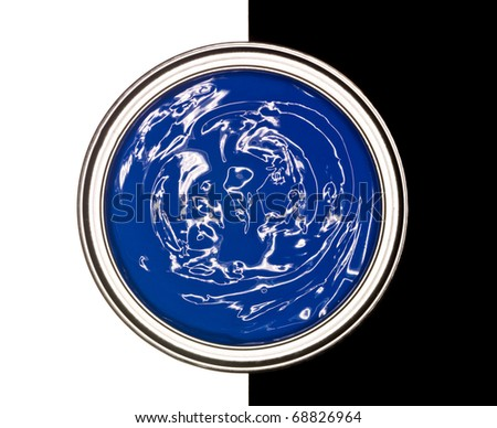 Blue Paint can on black and white background - stock photo