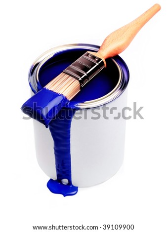 Blue Paint dripping from brush balanced on a paint tin - stock photo